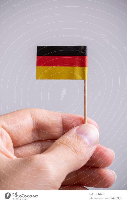 Flagge zeigen Feste & Feiern Mann Erwachsene Hand Finger Zeichen Streifen Fahne festhalten gold rot schwarz Deutsche Flagge Patriotismus Politik & Staat Fan