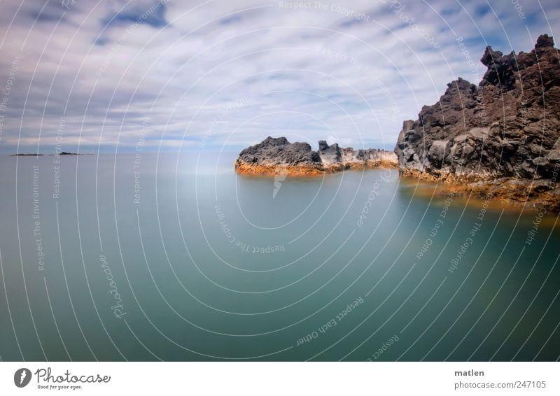 baigner l'île Himmel Wasser weiß blau Sommer Meer Wolken Einsamkeit Landschaft braun Insel Urelemente Fjord
