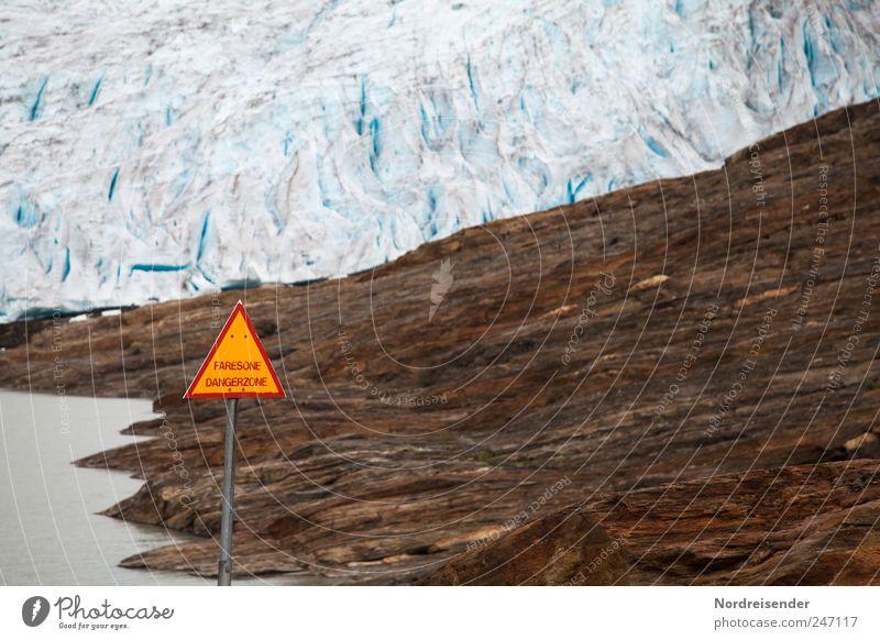 Hinweis Natur blau Landschaft braun Eis Schilder & Markierungen ästhetisch Klima Frost bedrohlich Urelemente Hinweisschild Zeichen bizarr Warnhinweis Norwegen