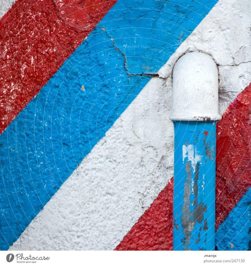Rohr alt weiß blau rot Farbe Wand Mauer Linie Design Lifestyle Streifen Fahne einfach Frankreich Rohrleitung Niederlande