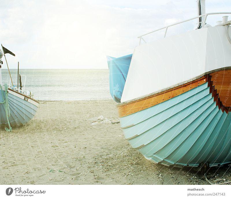 *50* freie bootsfahrt für alle Sand Luft Wasser Himmel Wolken Sonnenlicht Sommer Schönes Wetter Küste Strand Nordsee Meer Schifffahrt Fischerboot Motorboot blau