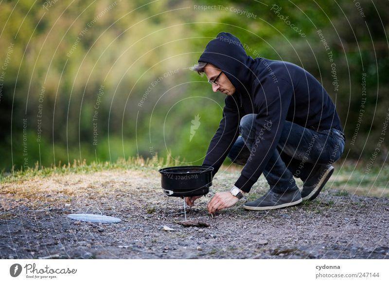 Die Grillprofis: Die richtige Platzwahl Mensch Natur Jugendliche ruhig Erwachsene Ferne Umwelt Leben Freiheit Wege & Pfade Stil Zeit Junger Mann