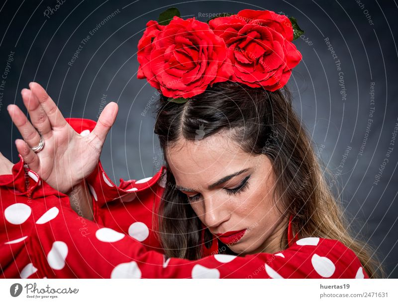 Porträt einer jungen Flamencotänzerin Lifestyle elegant Stil Design Glück schön Tanzen feminin Junge Frau Jugendliche Erwachsene 1 Mensch 18-30 Jahre Kunst
