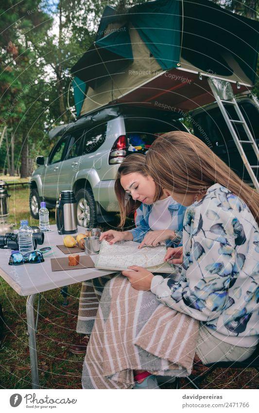 Frau Mensch Natur Ferien & Urlaub & Reisen Sommer Erholung Freude Wald Berge u. Gebirge Straße Erwachsene Lifestyle Herbst Zusammensein Freundschaft Ausflug