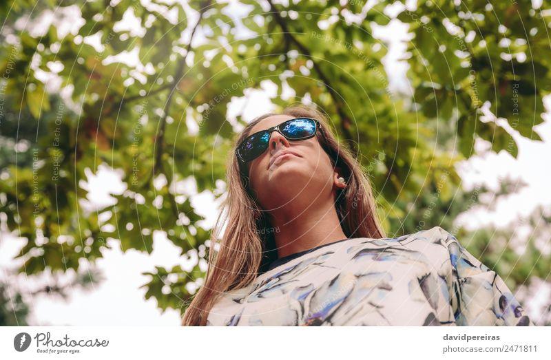 Frau Mensch Himmel Natur Sommer blau grün weiß Baum Erholung Freude Wald Berge u. Gebirge Erwachsene Lifestyle Herbst