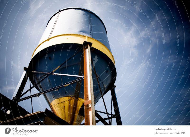 Weltraumschrott Maschine Baumaschine Technik & Technologie Energiewirtschaft Himmel Schönes Wetter gigantisch groß rund blau gelb Silo Schredder Industrieanlage