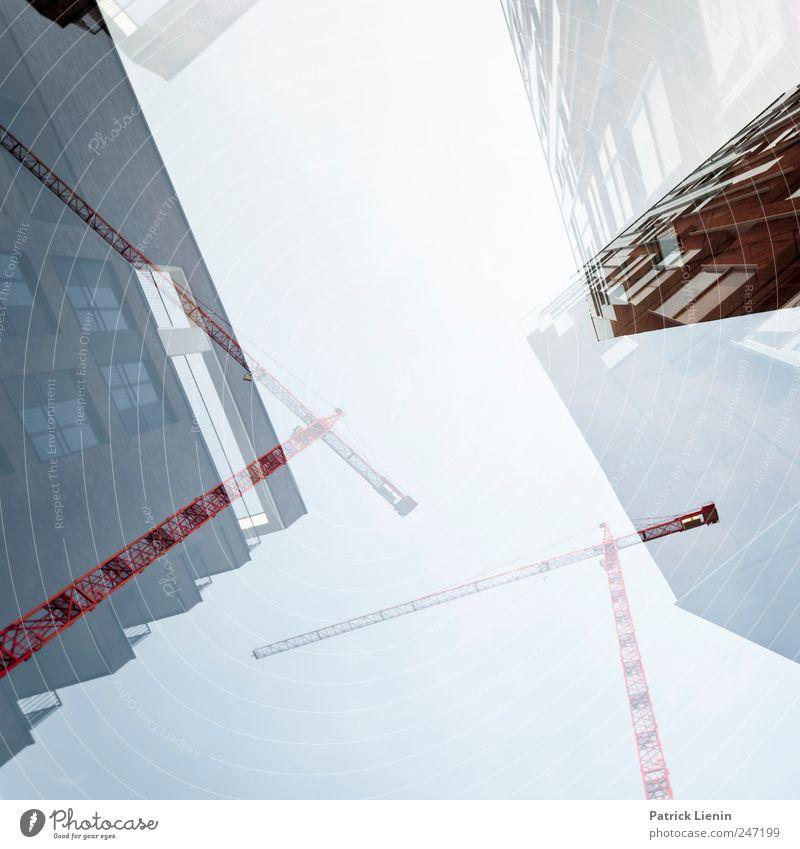 Baustelle Himmel Stadt Haus Umwelt Architektur Gebäude Hochhaus Wachstum Ordnung hoch modern Perspektive Urelemente Wandel & Veränderung Bauwerk