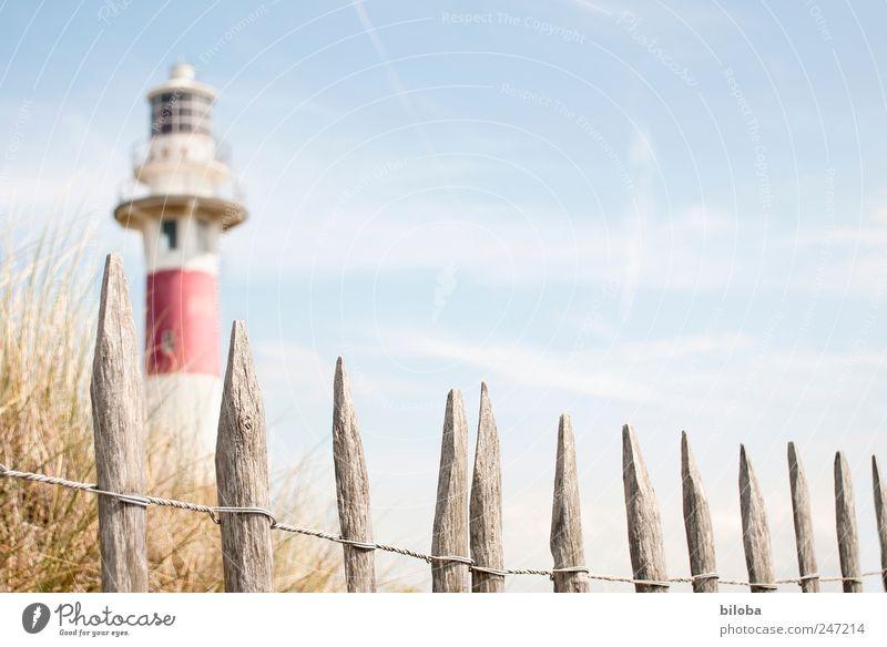 Leuchtturmromantik Gras Küste Nordsee Menschenleer Turm Sehenswürdigkeit Wahrzeichen blau rot weiß Fernweh Sicherheit Zaun Holzpfahl Düne Schifffahrt Navigation