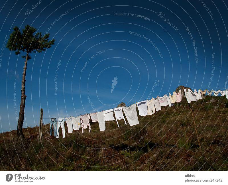 Kleidung Bekleidung trocken Ausziehen der Kleidung in der Sonne Berge u. Gebirge Baum Kiefer Sträucher weiß blau Himmel Sommer heizen Dorf alte Gewohnheit