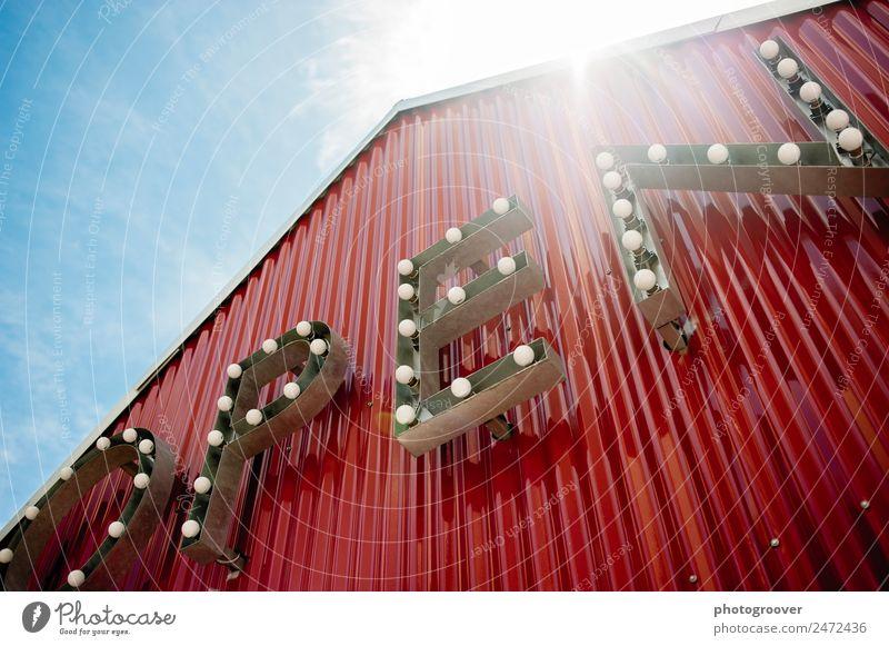 Offene Beleuchtung Design Hausbau Lampe Theater Bauwerk Architektur Mauer Wand Dach Metall Zeichen Schriftzeichen Schilder & Markierungen blau rot kaufen offen