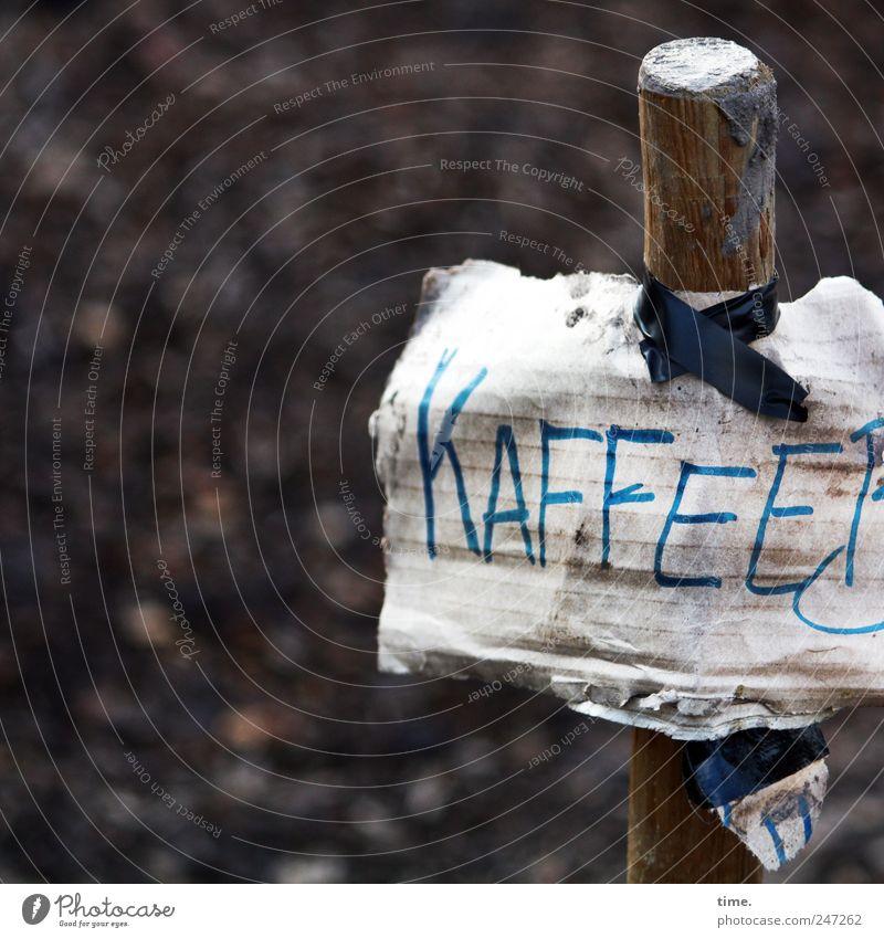 Der Prophet in der Wüste Kaffee Holz Schilder & Markierungen Hinweisschild Warnschild braun Stock Schlamm Karton Wort Buchstaben Klebestreifen aufhängen