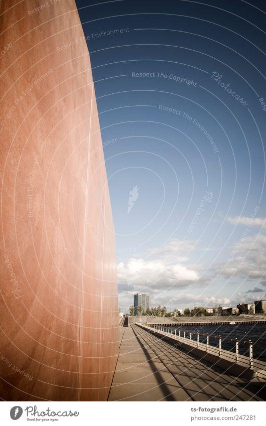 Marmorwand und Eisen bricht... Himmel Wasser blau rot Haus Umwelt Architektur Stein Gebäude Luft Metall braun Horizont Fassade Beton Hochhaus