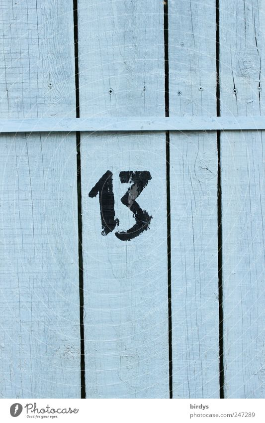 13 Ziffern & Zahlen authentisch positiv Volksglaube Pechzahl Glückszahl lattenzaun Zaun Holzzaun Fuge vertikal Holzwand Nummer 13 Farbfoto Außenaufnahme