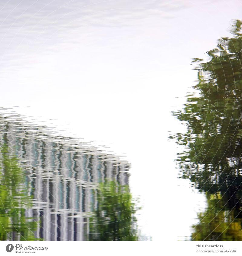 Ach... guck ma! Umwelt Landschaft Wasser Wassertropfen Himmel Wolkenloser Himmel Schönes Wetter Pflanze Baum Park Wellen Teich Haus Bankgebäude Bauwerk Gebäude