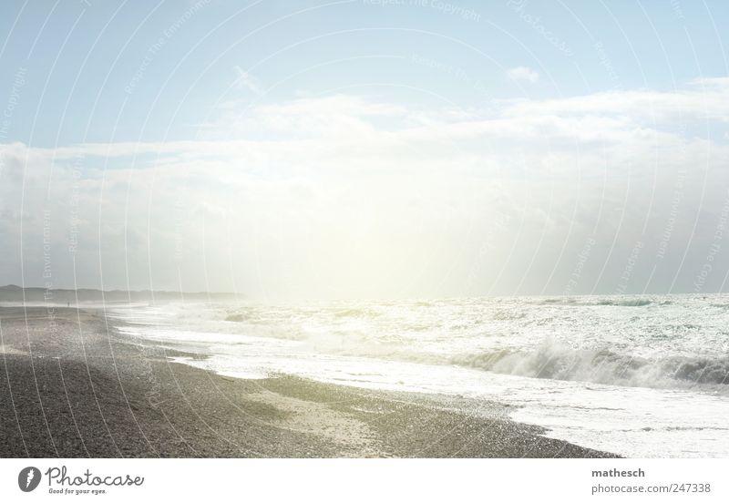 ozon Urelemente Sand Wasser Himmel Wolken Sonne Sonnenlicht Sommer Schönes Wetter Wärme Wellen Küste Strand Nordsee Unendlichkeit hell blau weiß Gelassenheit