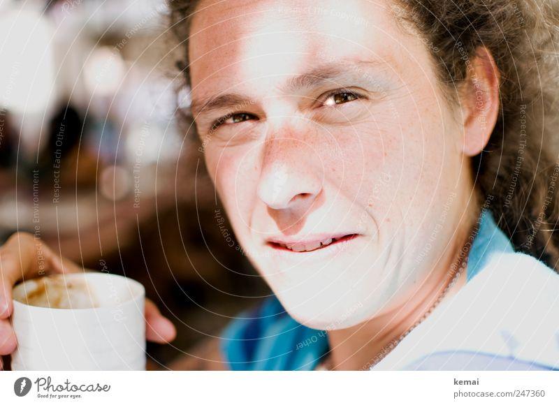 Kaffeepause Tasse Kaffeetasse Ferien & Urlaub & Reisen Sommerurlaub Mensch feminin Frau Erwachsene Leben Auge Ohr Nase Mund Zähne Hand 1 30-45 Jahre Blick