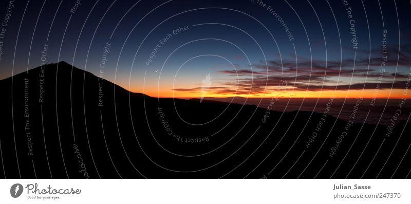 Teide - Teneriffa Himmel Natur blau Sommer Wolken Berge u. Gebirge Landschaft Umwelt Luft Gipfel Mond Schönes Wetter Nachthimmel Farbenspiel Teneriffa Teide