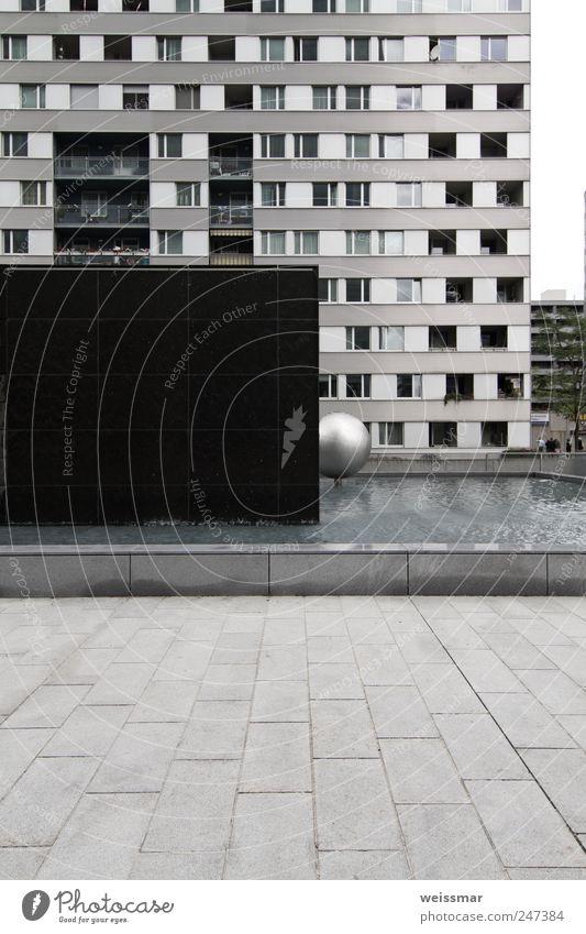 wohn monoton blau Stadt Haus schwarz kalt Wand Fenster grau Mauer Gebäude Fassade Hochhaus Europa silber Österreich Hauptstadt