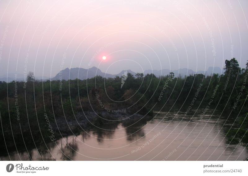 sonnenuntergang Abend Sonne Wasser Fluss Sonnenuntergang