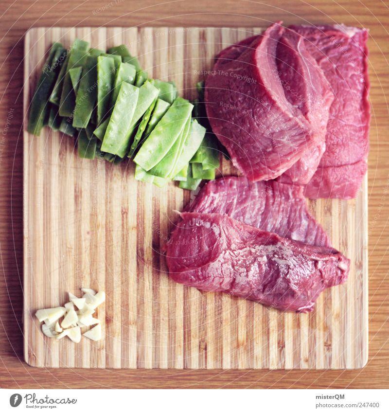 Abendbrot. Kunst Lebensmittel ästhetisch Kochen & Garen & Backen Gemüse Fleisch Mahlzeit Ernährung Schneidebrett Erbsen selbstgemacht Steak Mahlzeit zubereiten