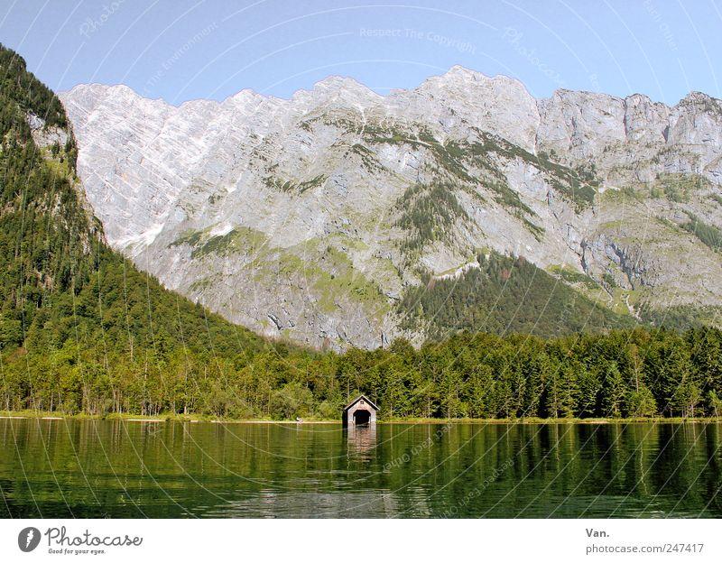 jetzt fahr'n wir über'n See... Natur Wasser Baum grün Sommer Ferien & Urlaub & Reisen ruhig Einsamkeit Wald Erholung Berge u. Gebirge Landschaft Ausflug Felsen