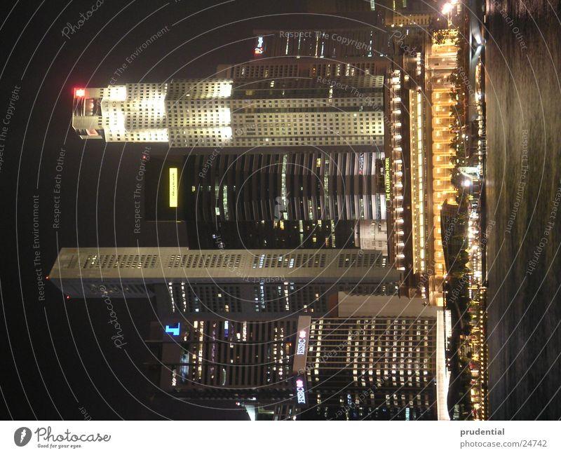 singapur singapore skyline Wasser Architektur Hafen Singapore Nachtaufnahme