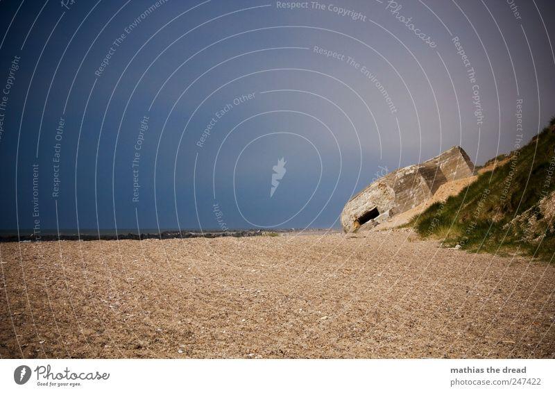 DÄNEMARK - XXVII Umwelt Natur Landschaft Luft Wasser Himmel Wolken Horizont Sommer Schönes Wetter Gras Wellen Küste Strand Nordsee Menschenleer Ruine Bauwerk