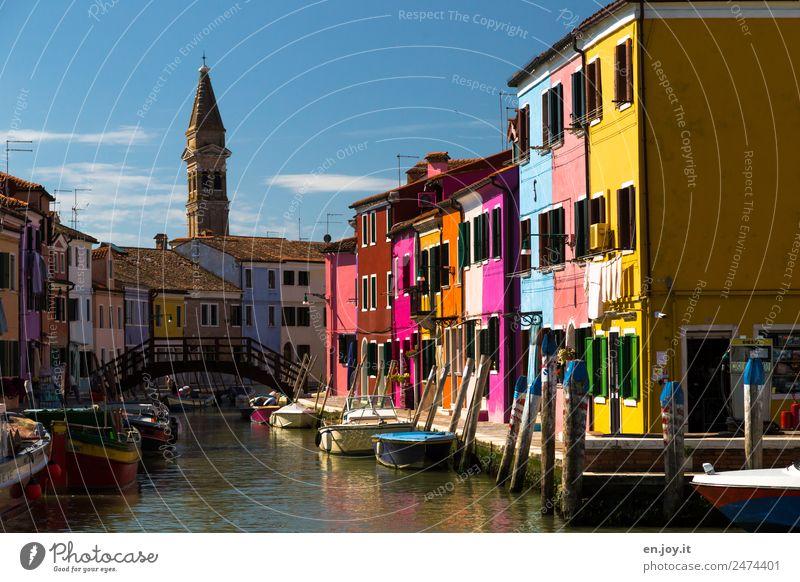 bunt Ferien & Urlaub & Reisen Tourismus Ausflug Sightseeing Städtereise Sommerurlaub Burano Venedig Italien Europa Dorf Fischerdorf Kleinstadt Hafenstadt