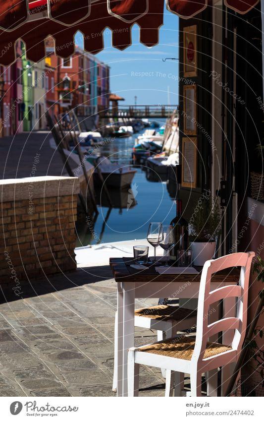 so kann man's aushalten Lifestyle Ferien & Urlaub & Reisen Tourismus Ausflug Sightseeing Städtereise Sommerurlaub Häusliches Leben Stuhl Tisch Burano Venedig