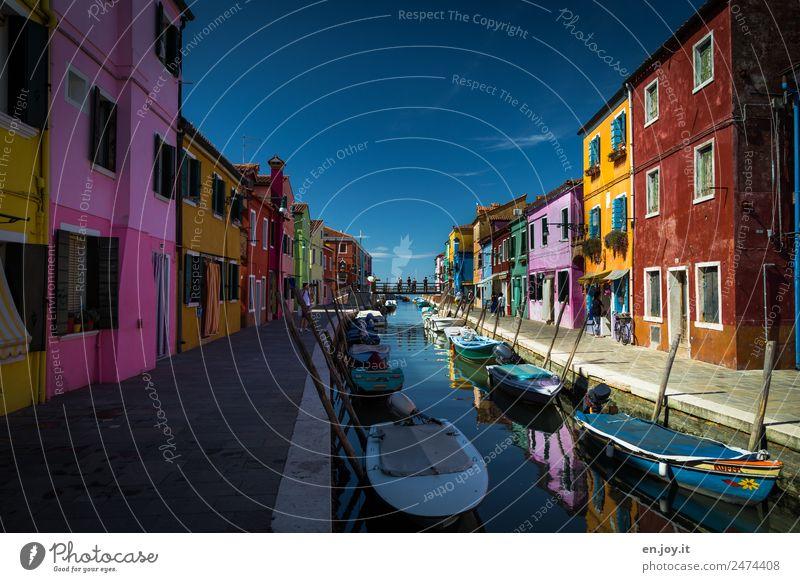 Haus Rosa Ferien & Urlaub & Reisen Tourismus Ausflug Sightseeing Städtereise Sommerurlaub Insel Burano Venedig Italien Europa Dorf Fischerdorf Kleinstadt