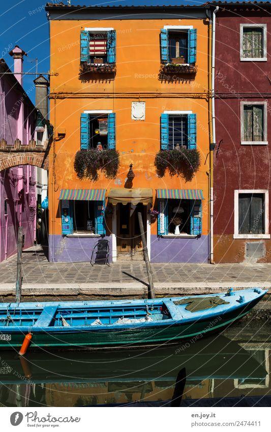 Dezent Lifestyle Ferien & Urlaub & Reisen Ausflug Sightseeing Städtereise Sommerurlaub Burano Venedig Italien Dorf Fischerdorf Altstadt Haus Gebäude Fassade
