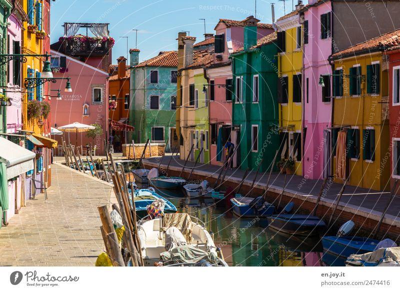 Sonnenseite Ferien & Urlaub & Reisen Farbe Haus Tourismus Fassade Ausflug Europa Idylle Italien Sehenswürdigkeit Wahrzeichen Bürgersteig Sommerurlaub