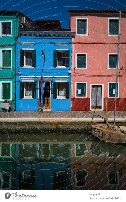 Nachbarn Ferien & Urlaub & Reisen Ausflug Sightseeing Städtereise Sommerurlaub Burano Venedig Italien Dorf Fischerdorf Altstadt Menschenleer Haus Fassade