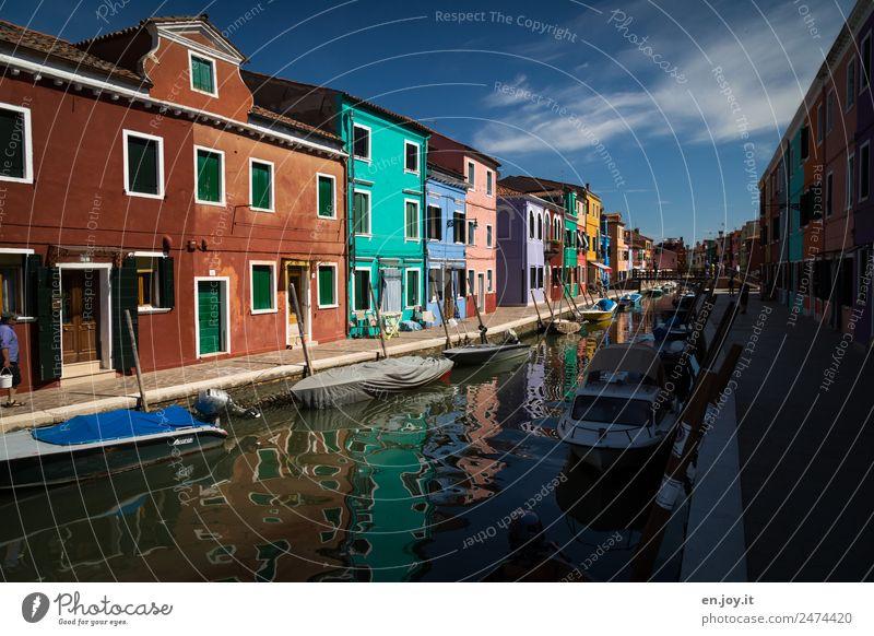 Burano 1 Ferien & Urlaub & Reisen Tourismus Ausflug Sightseeing Städtereise Sommerurlaub Himmel Venedig Italien Europa Dorf Fischerdorf Kleinstadt Hafenstadt