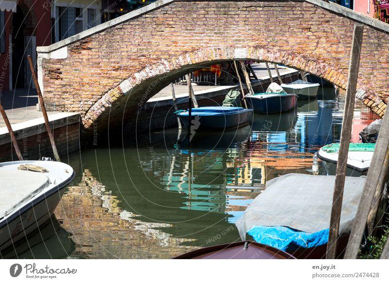 Seitenwechsel Ferien & Urlaub & Reisen Ausflug Sightseeing Städtereise Sommerurlaub Burano Venedig Italien Fischerdorf Stadt Hafenstadt Altstadt Brücke