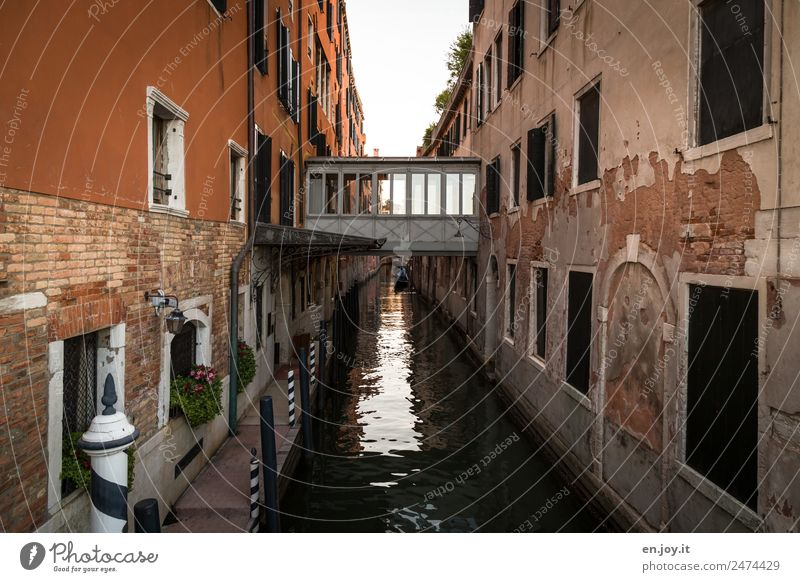 Gräben überwinden Ferien & Urlaub & Reisen Sightseeing Städtereise Venedig Italien Stadt Altstadt Haus Brücke Gebäude Fassade Wasserstraße Kanal alt dreckig