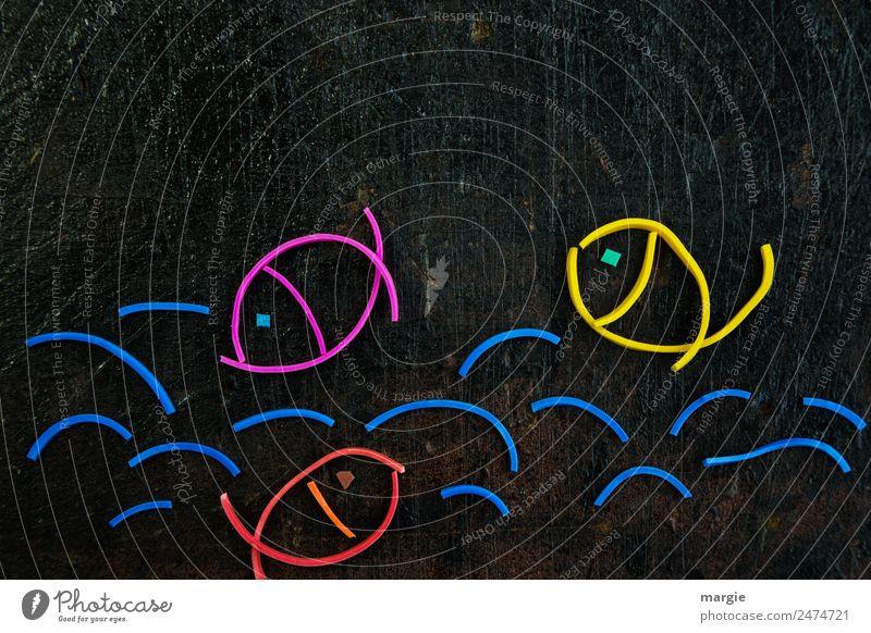 Gummiwürmer: Fische im Wasser Wellen Teich Tier Haustier Nutztier Wildtier 3 blau gelb rot schwarz See Kreis Collage Kreativität Im Wasser treiben nass Meer