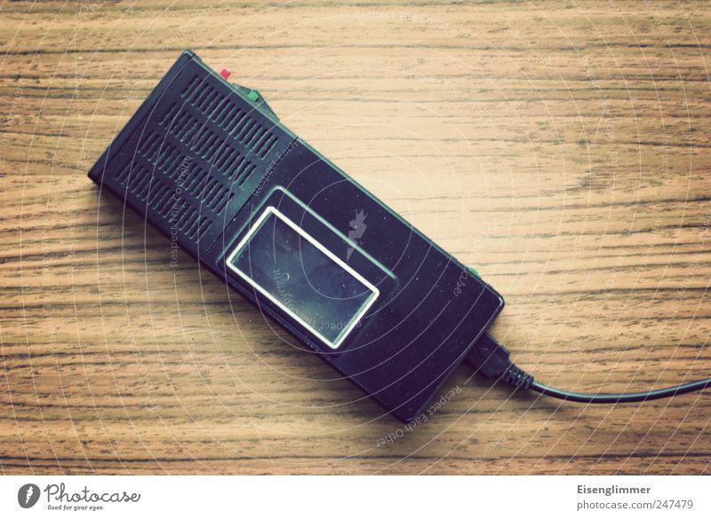 Record Tonbandgerät Diktiergerät Kabel analog Technik & Technologie alt schwarz Idee Pause Aufzeichnen Mikrofon Kassettenrekorder Farbfoto Innenaufnahme