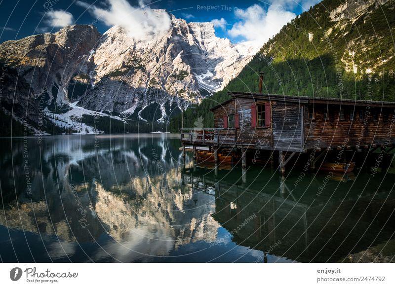 erste Wölkchen Ferien & Urlaub & Reisen Tourismus Ausflug Abenteuer Freiheit Sommer Sommerurlaub Berge u. Gebirge Natur Landschaft Alpen Dolomiten Gipfel See