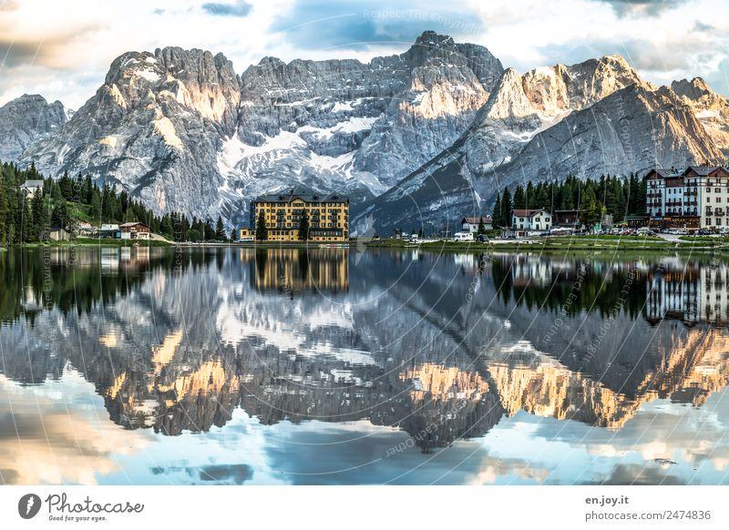 Wasserspiegel Ferien & Urlaub & Reisen Berge u. Gebirge Natur Landschaft Wolken Felsen Alpen Dolomiten Gipfel Seeufer Lago di Misurina Italien Südtirol Europa