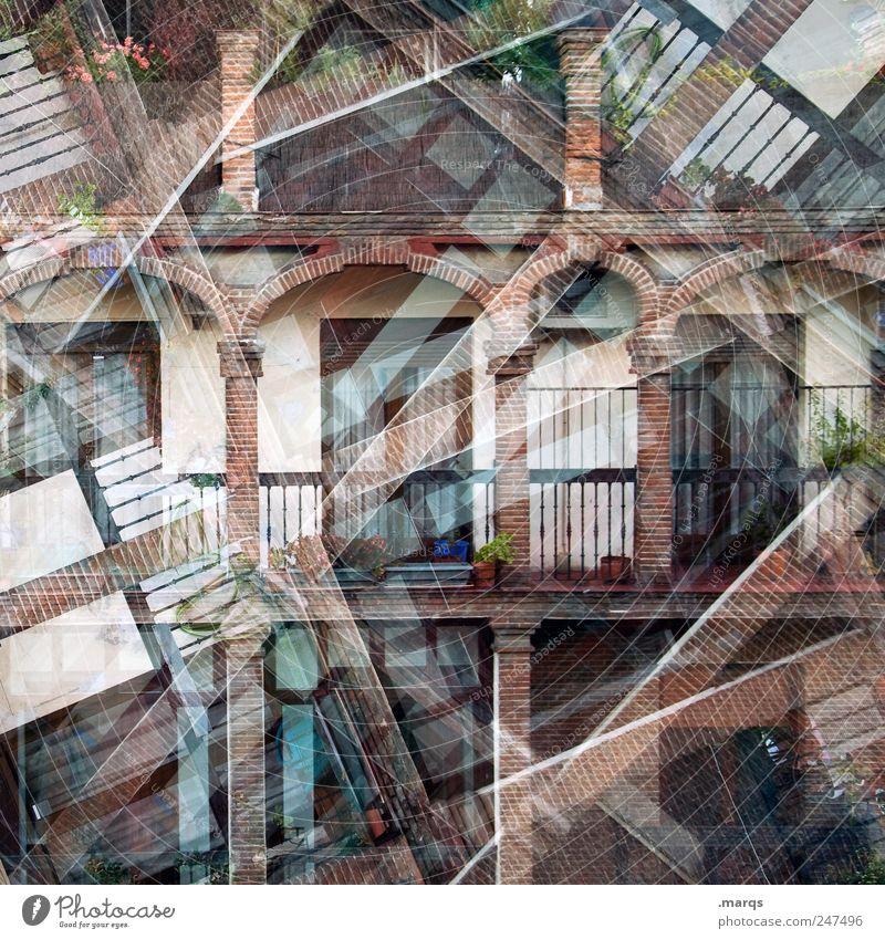 Accomodation Haus Wand Fenster Stil Mauer Wohnung Fassade verrückt Perspektive Häusliches Leben einzigartig außergewöhnlich Spanien chaotisch Doppelbelichtung