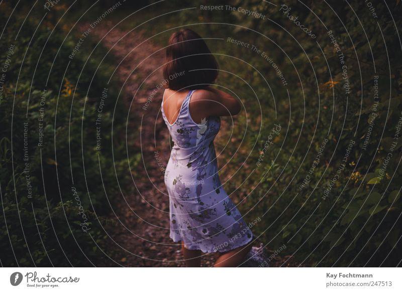° Frau Mensch Natur Jugendliche schön Pflanze Sommer Ferien & Urlaub & Reisen ruhig Wald Erholung feminin Freiheit Stil träumen Traurigkeit