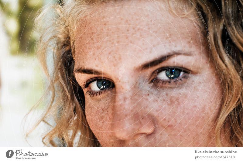 sommer-look Wimperntusche Flirten feminin Junge Frau Jugendliche Erwachsene Haut Kopf Haare & Frisuren Gesicht Auge Nase 1 Mensch 18-30 Jahre Sommer blond