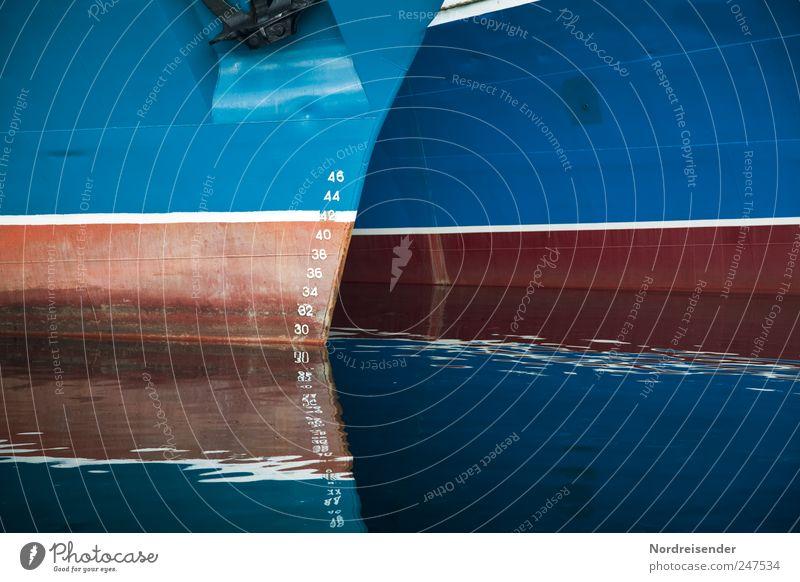Tiefgang Güterverkehr & Logistik Wasser Meer Schifffahrt Wasserfahrzeug Anker Metall Zeichen Ziffern & Zahlen Schilder & Markierungen ästhetisch blau braun
