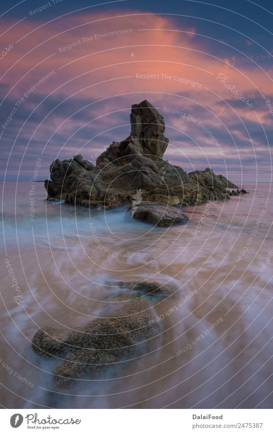 Costa brava, Barcelona Spanien schön Leben Ferien & Urlaub & Reisen Sommer Sonne Strand Meer Natur Landschaft Sand Himmel Wetter Felsen Stein Streifen klein