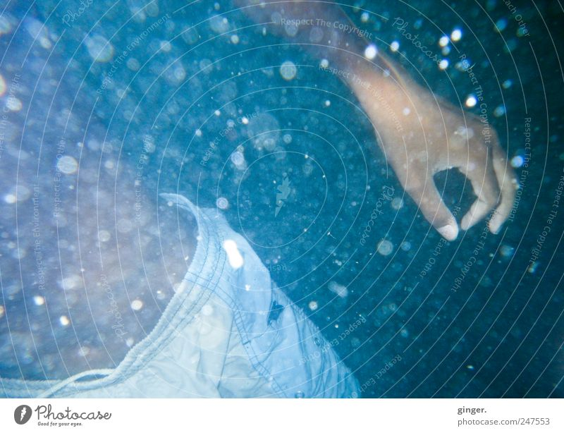 Wasserqualität 1A Wasser blau Hand Meer Umwelt Freizeit & Hobby Schwimmen & Baden Finger Punkt tauchen Bauch zeigen Luftblase Badehose Körperteile Unterwasseraufnahme