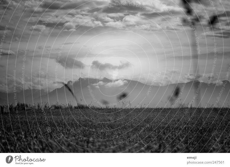 es bahnt sich etwas an Himmel Wolken dunkel Berge u. Gebirge Landschaft Wetter Feld Klima bedrohlich außergewöhnlich Unwetter Klimawandel Getreidefeld