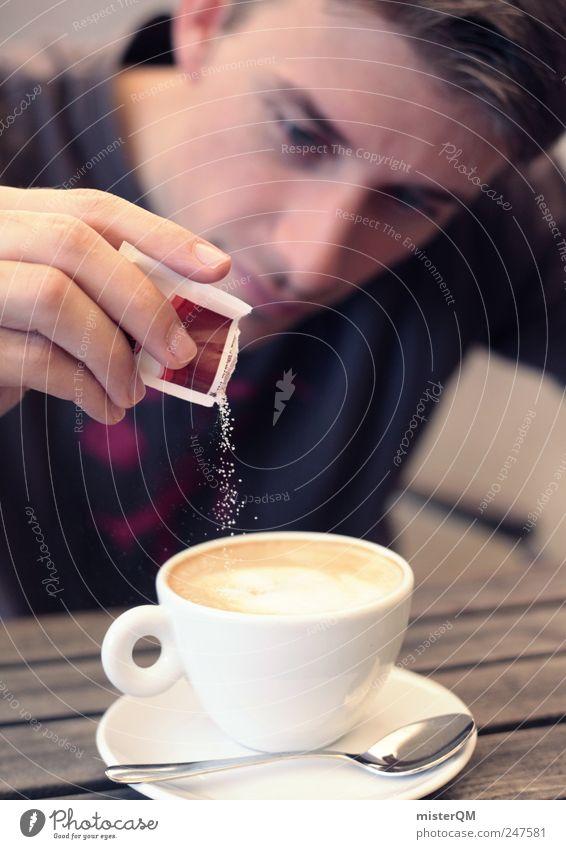 Zuckerguß. Mann Erholung Zufriedenheit ästhetisch Tisch Getränk Pause Kaffee genießen Restaurant Zucker Schaum Qualität attraktiv filigran Mensch