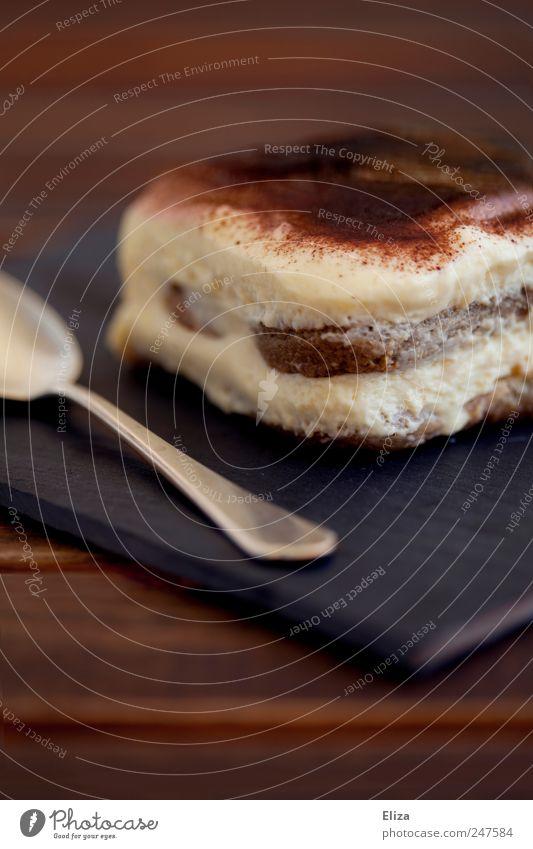 Mhh... braun süß Speise lecker genießen Schokolade Dessert Löffel Kaffeetrinken cremig