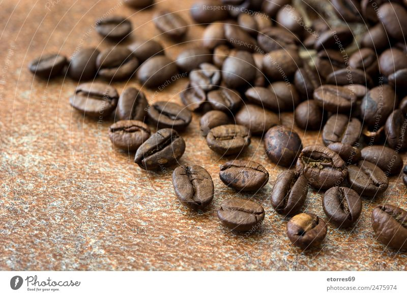 Hintergrund der gerösteten Kaffeebohnen Lebensmittel Getreide Ernährung Frühstück Bioprodukte Vegetarische Ernährung Diät Espresso natürlich braun Koffein